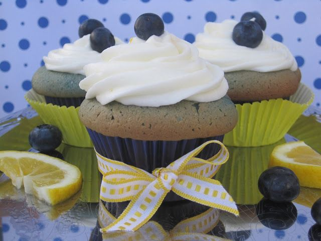 Lemon Curd Filled Blueberry Cupcakes