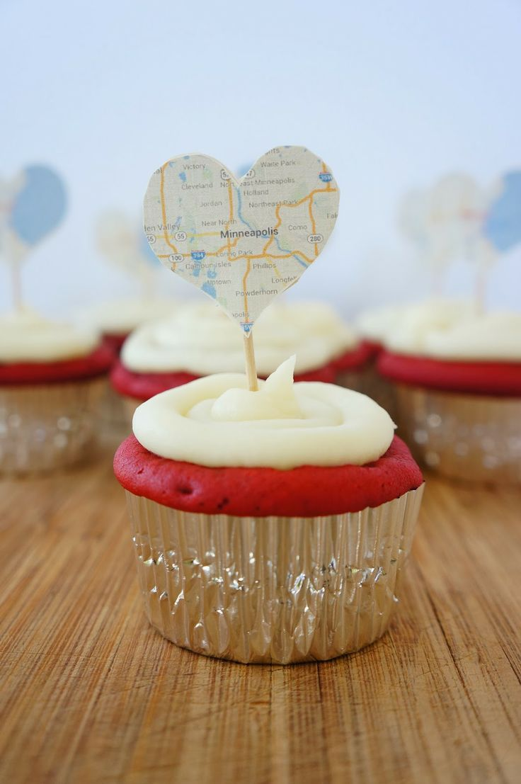 Map Heart Cupcakes