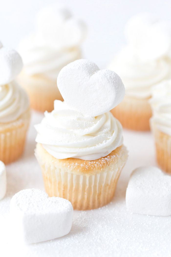 Marshmallow Heart Topped Cupcakes