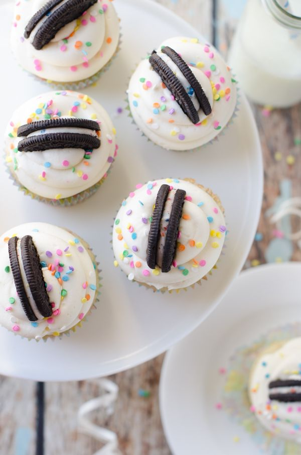 Oreo Frosted Funfetti Cupcakes