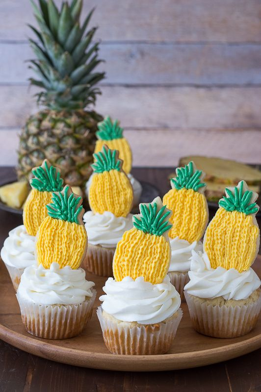 Pineapple Cookies Topped Cupcakes