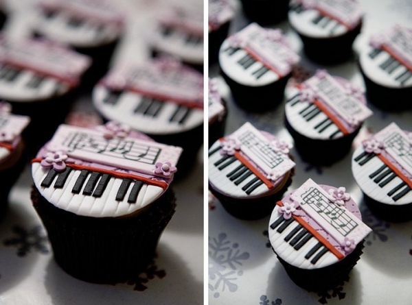 Purple Kissed Keyboard and Music Sheet Cupcakes