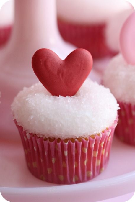 Red Heart With Royal Icing Cupcakes