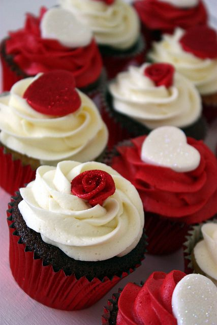Red Rose and Heart Topped Cupcakes