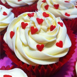 Small Heart Sprinkled Cupcakes