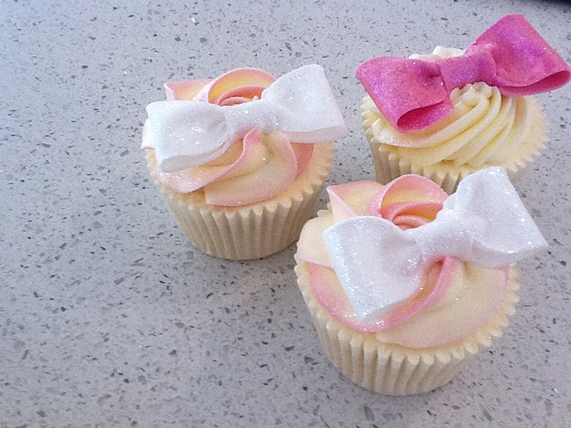 Sparkling White and Pink Bow Cupcakes
