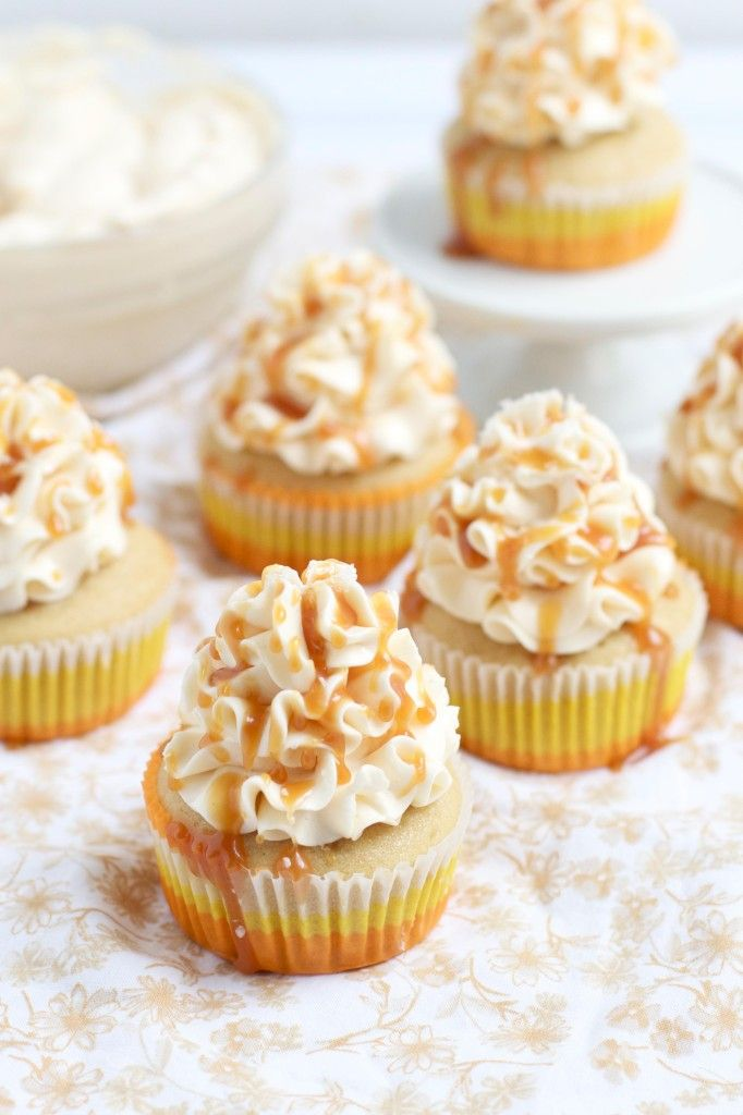 Swiss Meringue Buttercream and Caramel Frosted Cupcakes