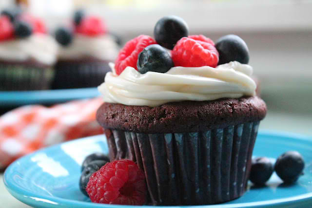 Vegan Red White Blue Velvet Cupcakes with Cream Cheese Frosting