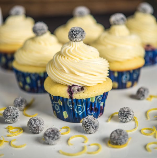 White Icing Blueberry Cupcakes