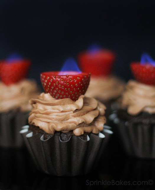 Flaming Strawberry Cupcakes