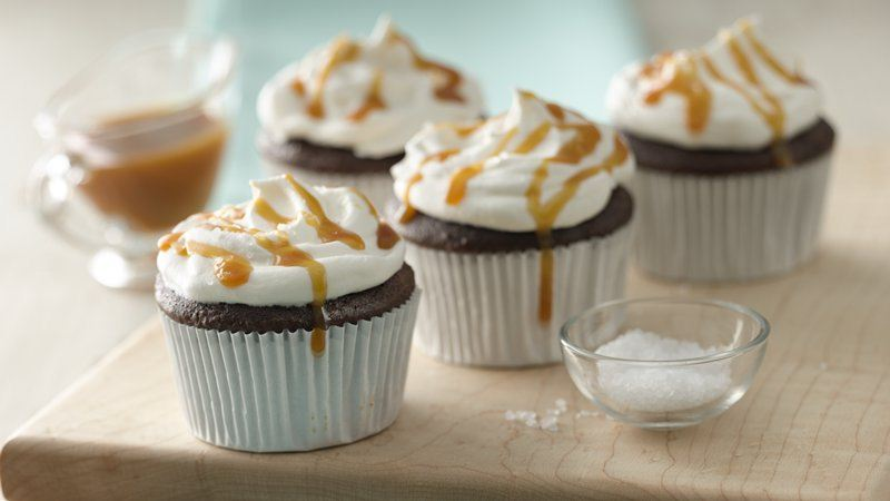 Salted Caramel Topped Chocolate Cupcakes
