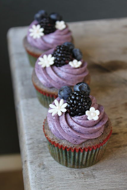 Blueberry Blackberry Cupcake with Blueberry Cream Cheese Frosting