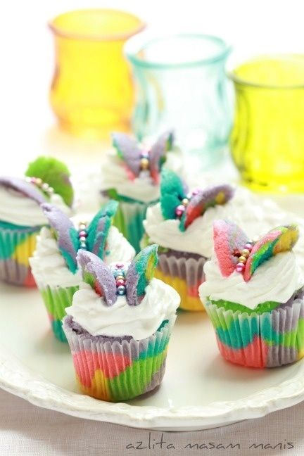 Vibrant Butterfly Cupcakes