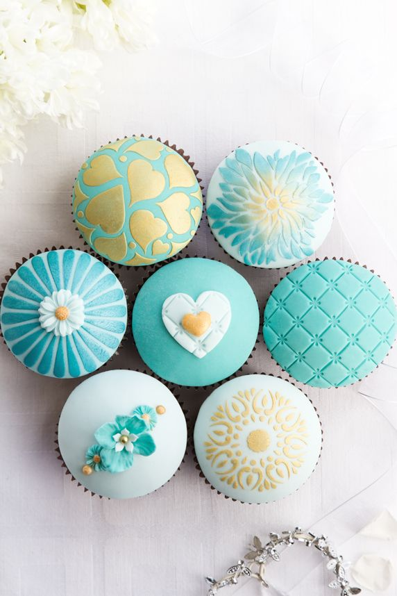 Assorted Turquoise Cupcakes