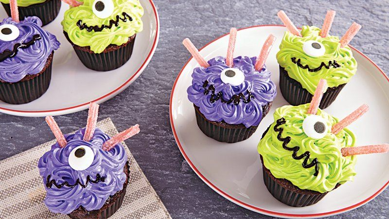 Swirling One-Eyed Monster Cupcakes