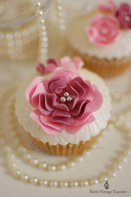 Classic Shades Of Pink Floral Cupcake