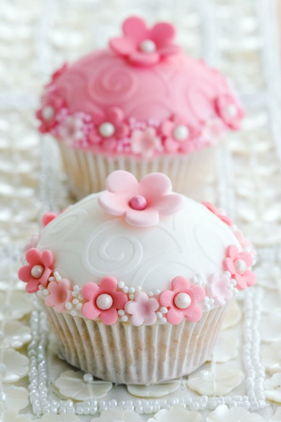 Fancy Pink Floral Cupcakes