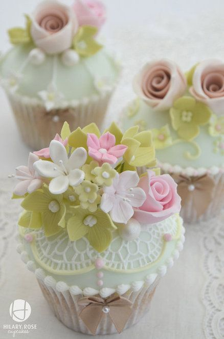 Floral Bouquet And Lace Cupcake