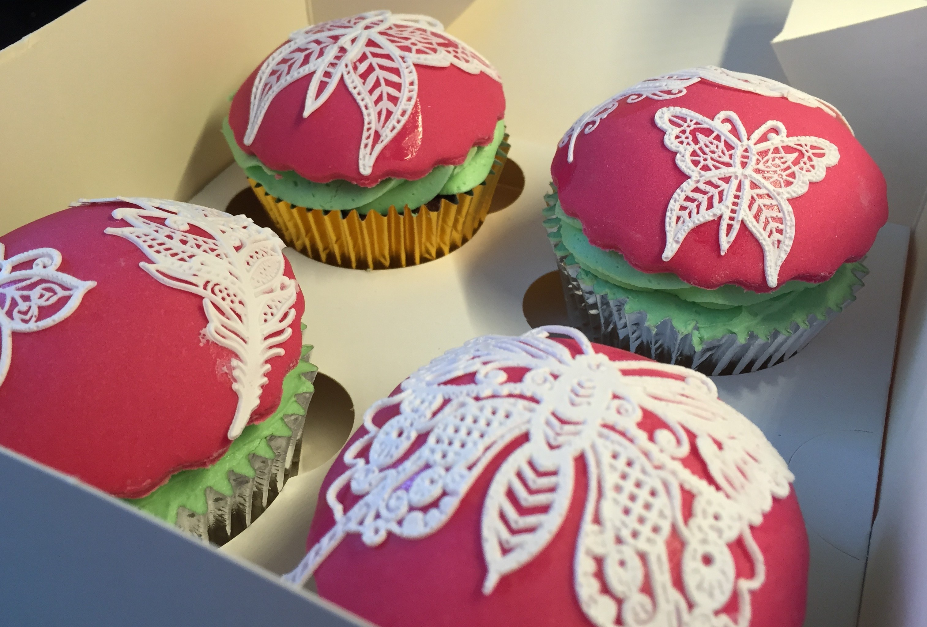 Intricate Butterfly Lace Cupcakes