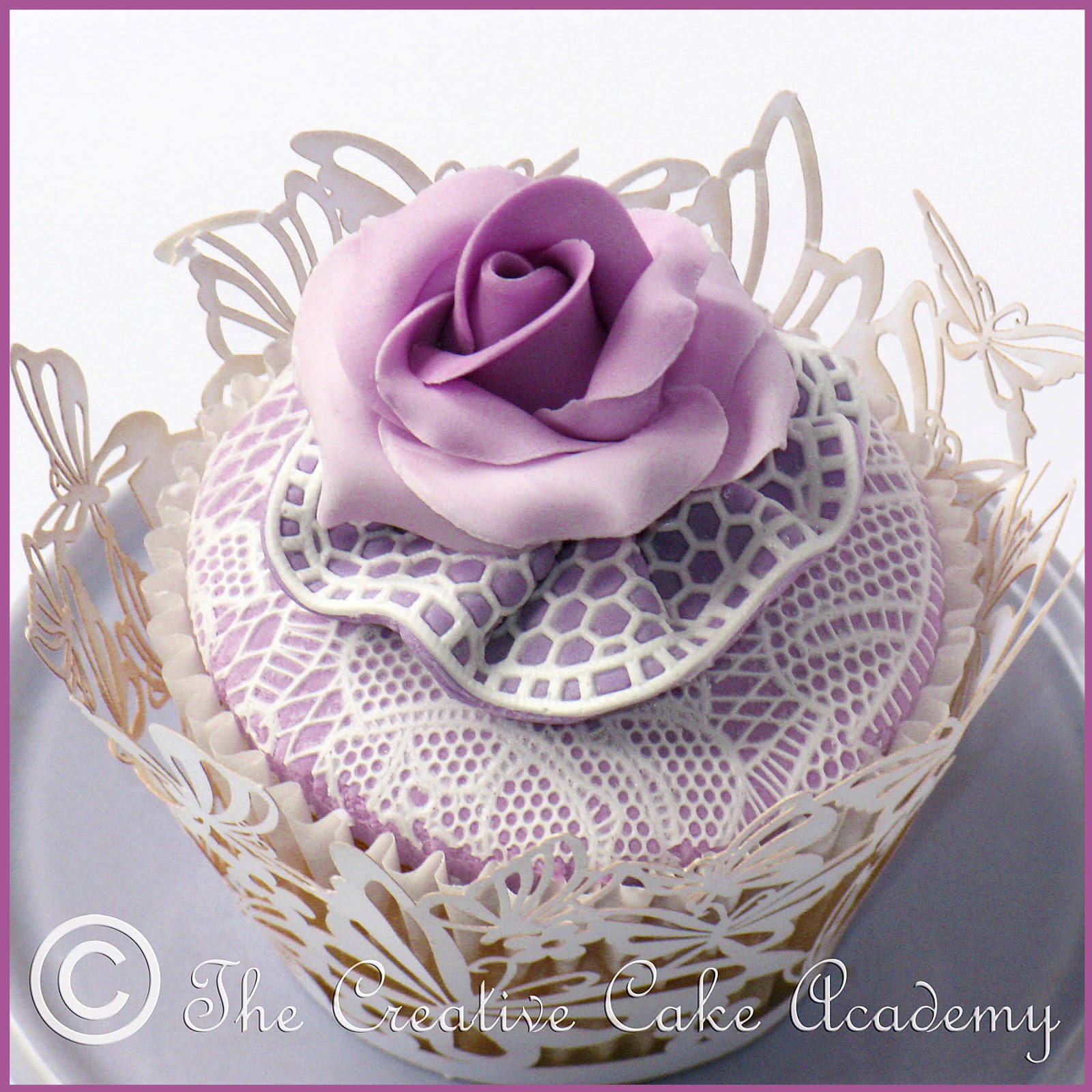 Sophisticated Violet Rose And Lace Cupcake