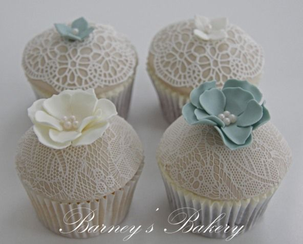 Teal And White Teal Cupcakes