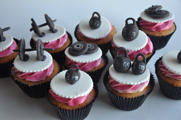 Glittery Gym Equipment Cupcakes