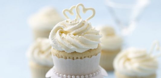 Hearts Topped Wedding Cupcakes