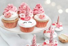 Pink Rose Unicorn Cupcakes
