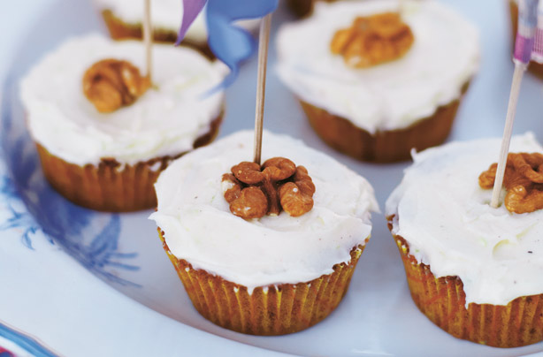 Carrot, Ginger And Walnut Cupcakes